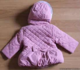 baby pink coat John Lewis girl 6m + free baby clothes