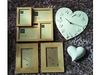 Living room/bedroom accessories: photo frames, clock, trinket box