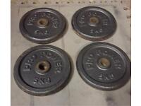 "4 x 5kg Pro Power cast iron standard 1"" weight plates"