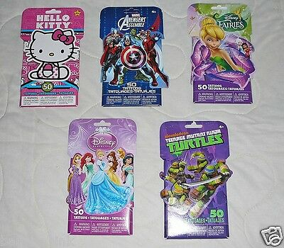50 pc Boys Girl Hello Kitty Princess Avengers Temporary Tattoos Kid Party - Avengers Tattoo