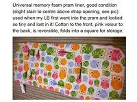 owl print comfi cush memory foam pram liner