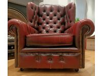 Vintage leather Chesterfield armchair