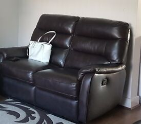 Brown Leather Recliner Sofa 2 seater