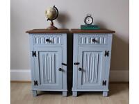 Vintage Shabby Chic Painted Bedside Cabinets Tables