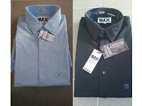 "2x Extra slim fit shirts 14-14.5"" collar, 1MX, BNWT, 1x black, 1x light blue- smart/casual/night out"