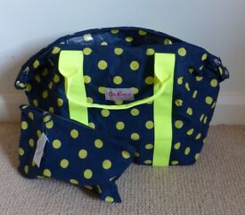 Cath Kidston navy and yellow foldaway bag in a bag