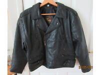 Black leather motor bike jacket