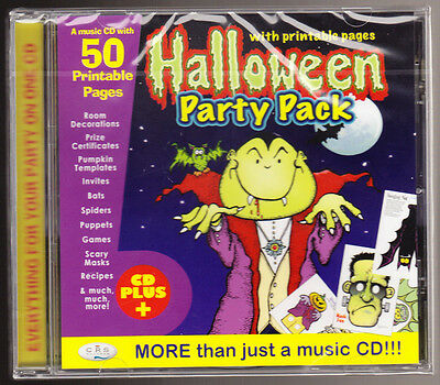 HALLOWEEN PARTY PACK - MUSIC CD + 50 PRINTABLE PAGES (GAMES ETC) - NEW SEALED CD - Halloween Music Printables