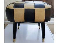 Vintage Sherborne Beige and Black Footstool