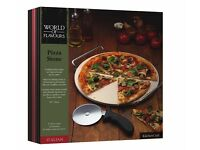 World of Flavours Pizza Stone & Cutter, NEVER BEEN USED