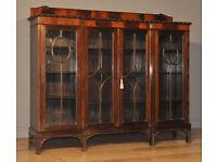 Wide Vintage Mahogany Inverted Break Front Four 4 Door Bookcase Display Cabinet