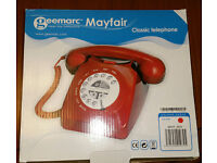 Brand New, Boxed, Red Geemarc Mayfair, Push Button, Mechanical Ring, Retro Corded Telephone