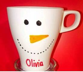 Personalised Snowman Cup with Hot Chocolate Cone