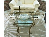 Gold Painted, Coffee Table collection, including Nest of Tables, Lamp, Fruit Bowl, 2 x Curtain Rails