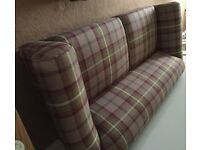 Fantastic Two sofas and footstool 6 months old new condition in stunning check mulberry fabric