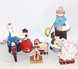 ✨ WALLIS AND GROMIT LARGE 1980'S COLLECTABLE FIGURES BUNDLE ~ VINTAGE PLASTIC ✨