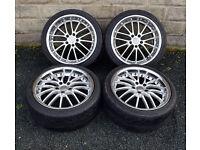 """18"""" alloy wheels tyres 5x112 Audi MK2 TT A3 VW MK5 Golf Mercedes C class W204"""