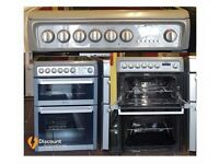 60cm Refurbished Hotpoint Ceramic Cooker, Double Oven / Grilll - 6 Months Warranty