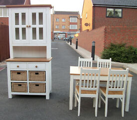 Solid Oak dining cabinet with matching table and chairs