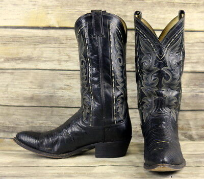 Dan Post Cowboy Boots Black Lizard Leather Mens Size 10 D Steampunk Western VTG
