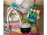Baby Bundle - Bouncer, Travel Bassinette, Play Gym, Steriliser, Bath Seat, Play Mat