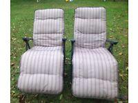Garden sun loungers - a matching pair