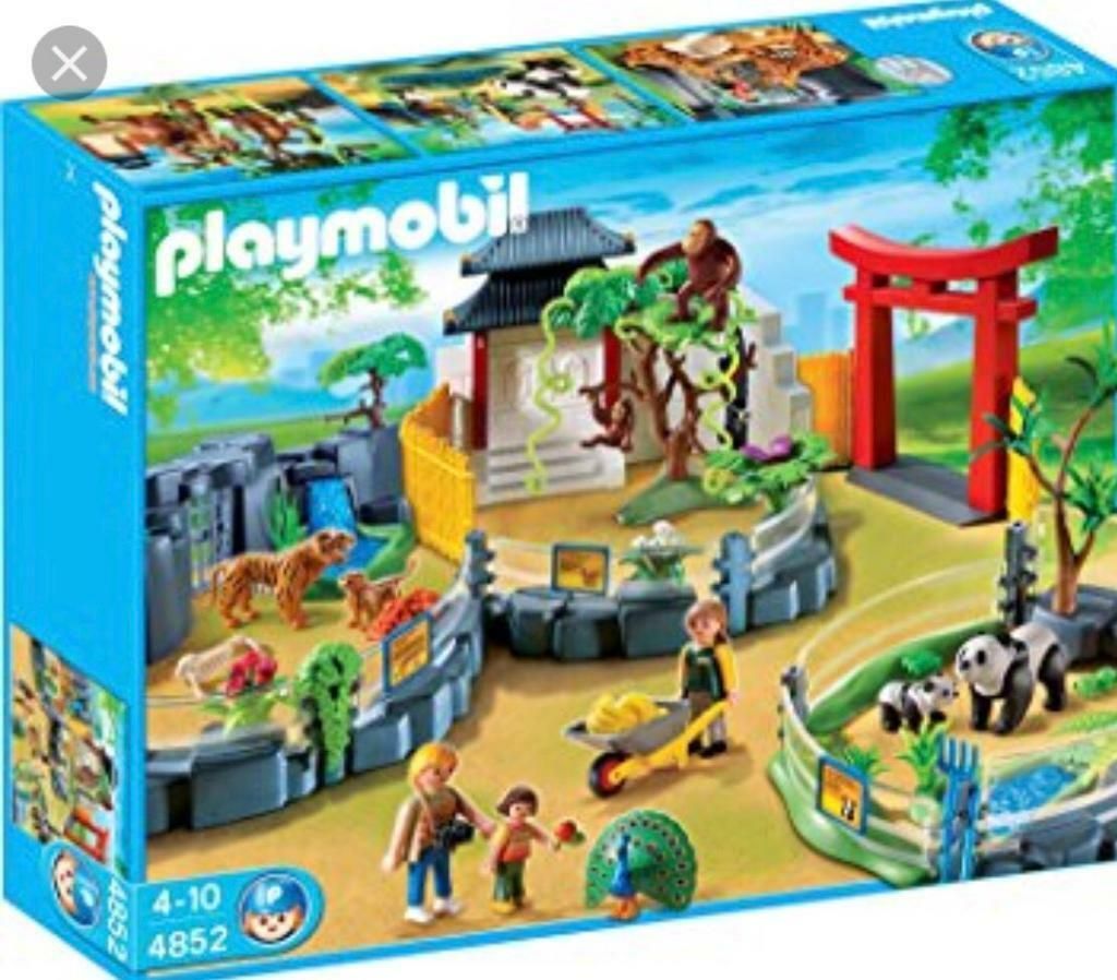 Playmobil asian zoo 4852 zoo vehicle with trailer 4855 for Casa moderna playmobil 9266