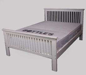 White wooden shaker bed