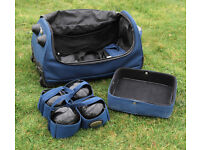 SET OF 4 THOMAS TAYLOR BOWLS SIZE No.3 WITH WHEELED CARRY CASE