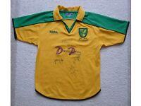 Norwich City Football Shirt - signed - size YXL