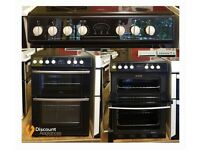 60cm Black Belling Ceramic Cooker, Double Oven (Fan Assisted)/ Grill - 6 Months Warranty