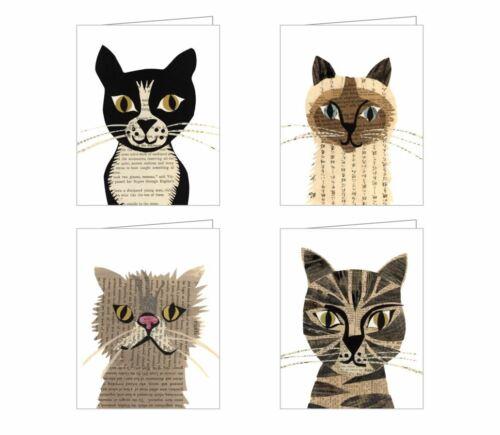 4 CAT KITTEN NOTE CARDS GREETING CARDS & ENVELOPES Notecards Denise Fiedler NEW
