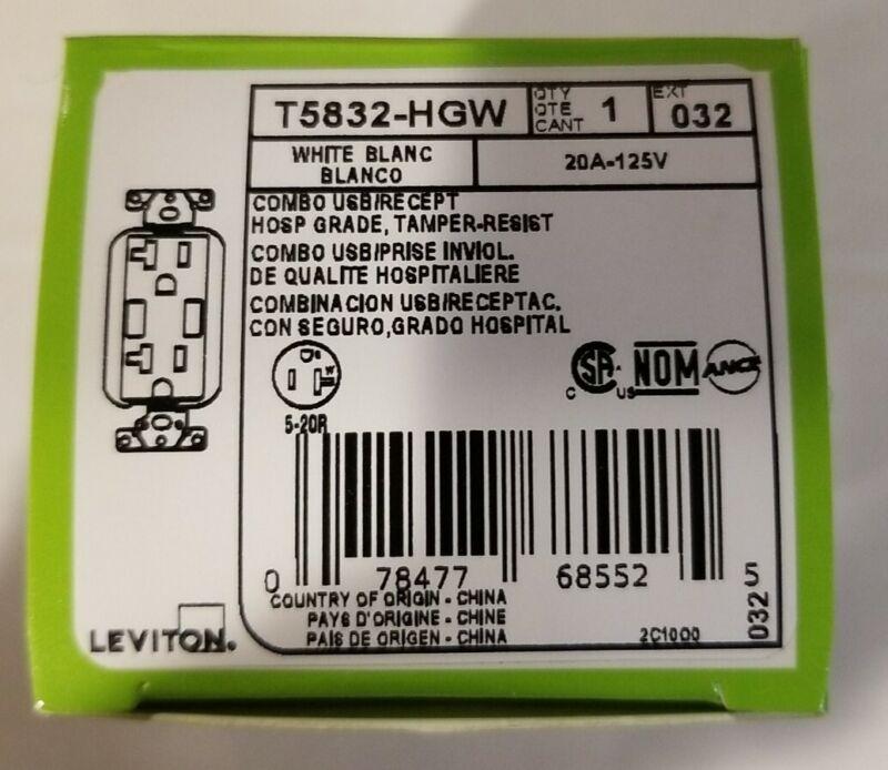LEVITON DECORA 20 AMP HOSPITAL GRADE TAMPER RESISTANT DUPLEX 3.6 AMP RECEPTACLE