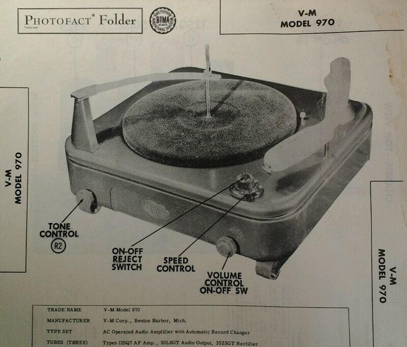 Photofact Folder Sams Tech Info Vtg 1952 V-M Model 970 Record Player