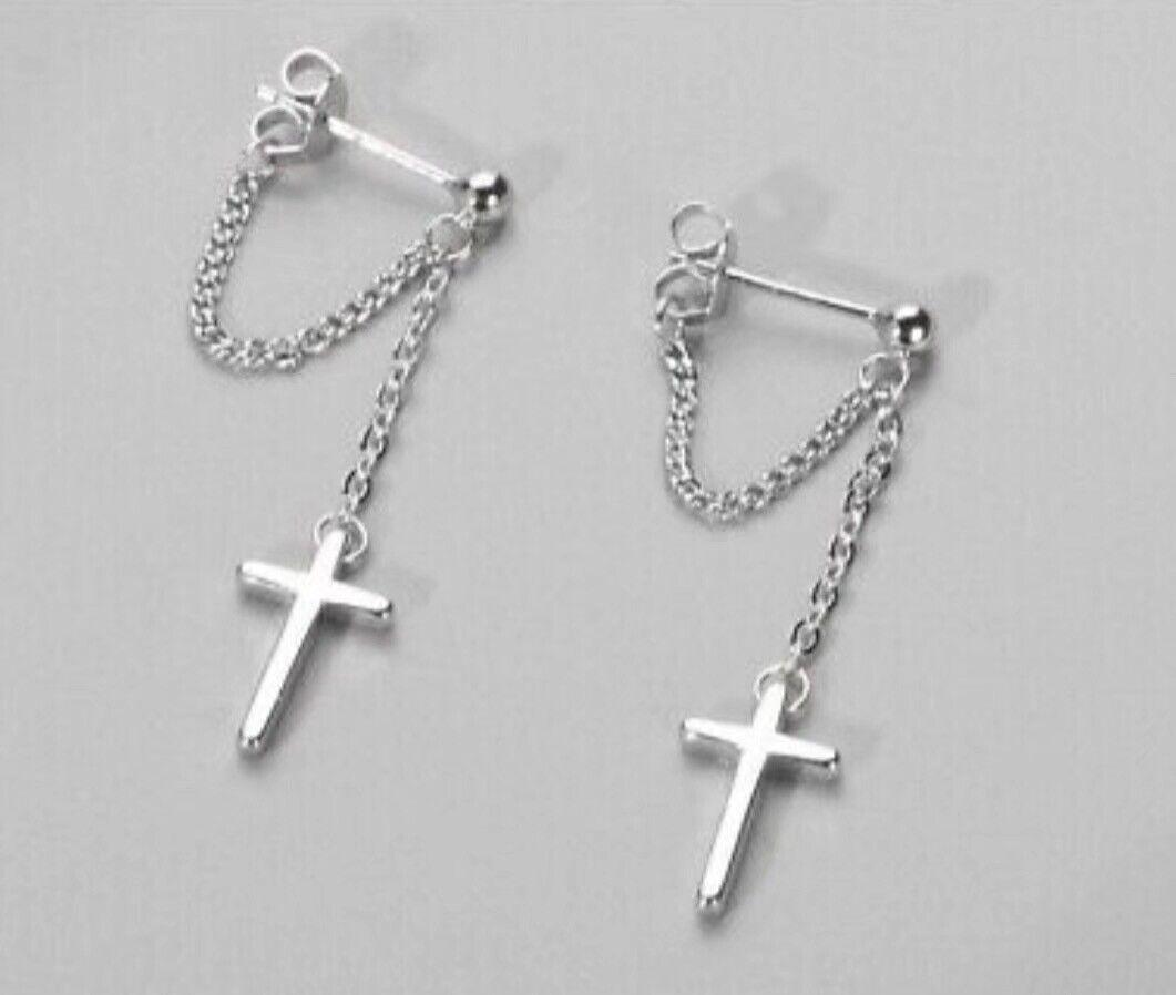 Jewellery - Beautiful Cross Dangle Chain Earrings 925 Sterling Silver Women's Girls Jewelry