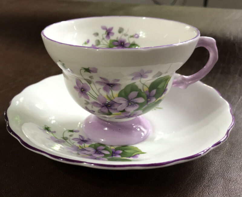 Vintage Royal Rosina Bone China England Cup Saucer, Purple Floral Design.
