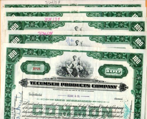 1939 Tecumseh Products Company 1939  Stock Certificates Set of Five #2