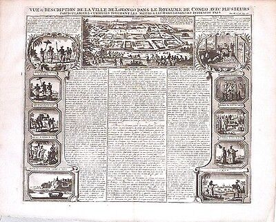 Antique map, Vue & description de la ville de Lovango dans la royaume de Congo