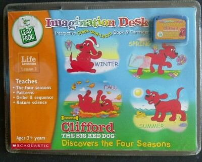 Leap Frog Imagination Desk  Clifford Discovers Four Seasons Life Lessons 3 New
