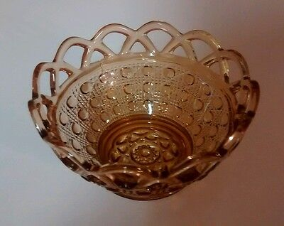 Imperial Glass Company Laced Edge (Sugar Cane) Amber Basket