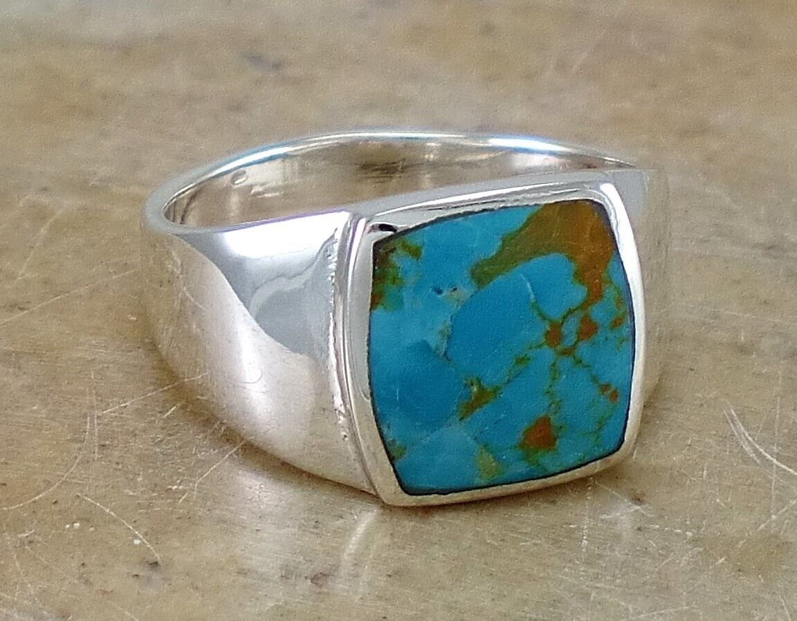 Polished Six Line Sterling Silver  Reconstituted Turquoise Ring