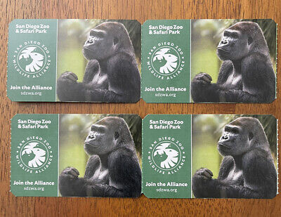 FOUR (4) ONE DAY TICKETS ADMISSION TO SAN DIEGO ZOO OR SAFARI PARK EXP 1/11/2022
