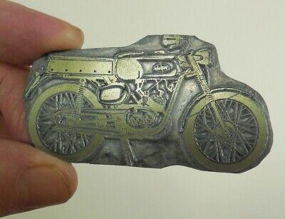 VTG 1960's MOTORCYCLE ADVERTISING Original Newspaper Metal Printing Press Plate