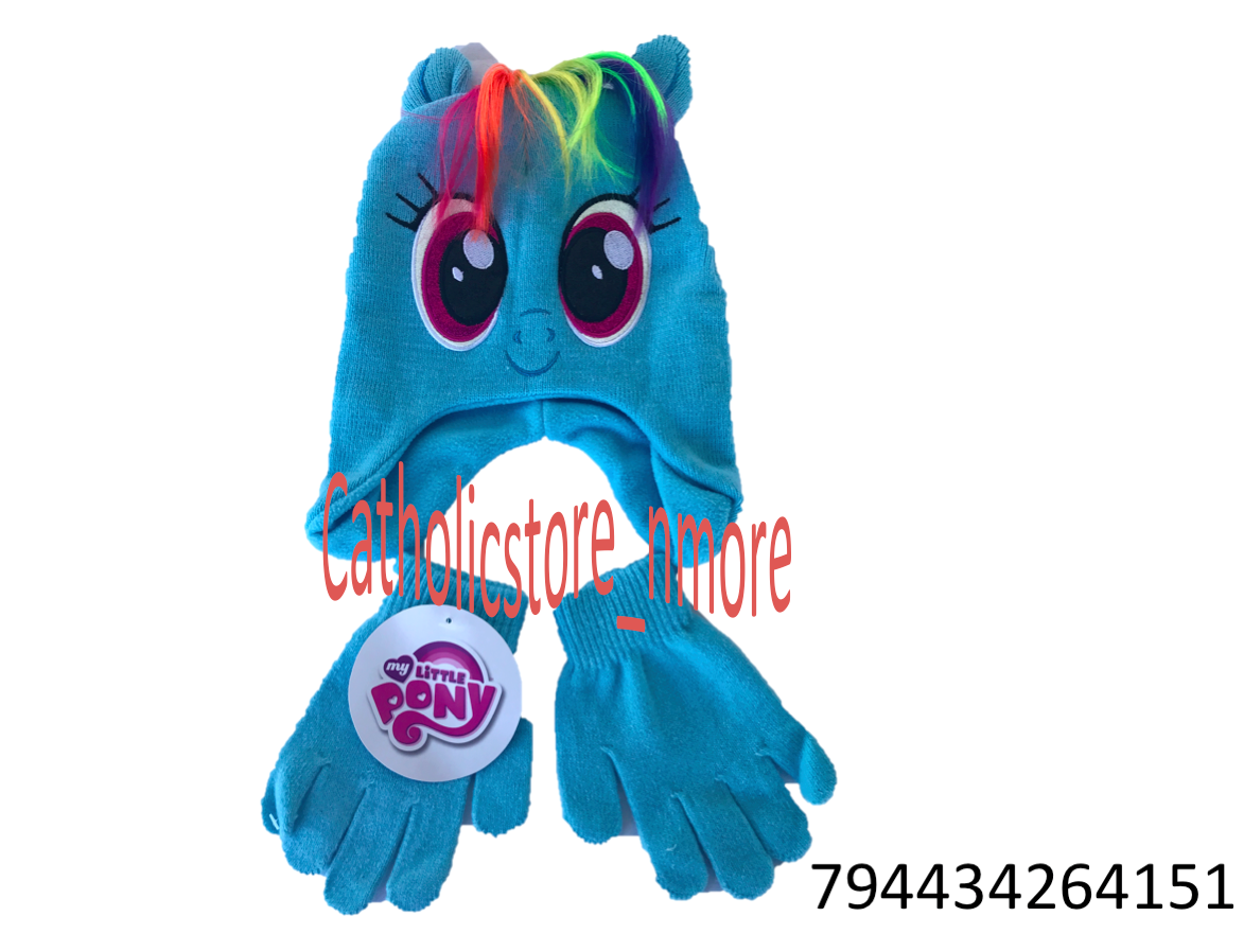 8b9e65a553af1 Details about Hasbro My Little Pony Hat and Gloves Cold Weather Set-4151