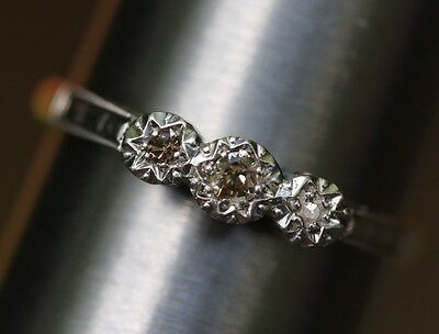 Old Cut Antique Victorian engagement Diamond 3 Stone Ring 9K Gold Platinum Size