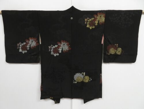 1019i10z470 Vintage Japanese Kimono Silk HAORI Black Flowers