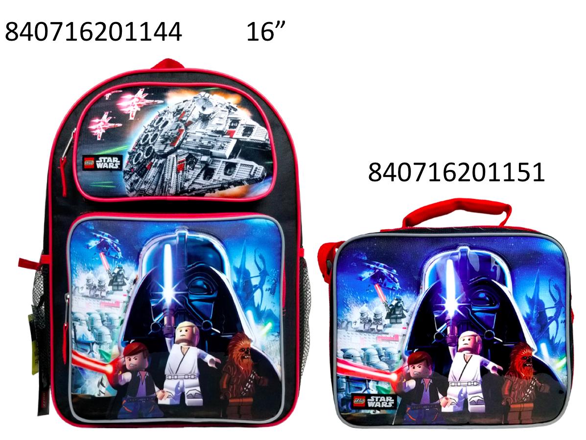 """Lego Star Wars 16"""" Popup 3D Applique  School BackPack & Lunc"""