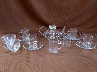 Schott Mainz Jena Glass Teapot W/ Saucers + Mugs + Cups