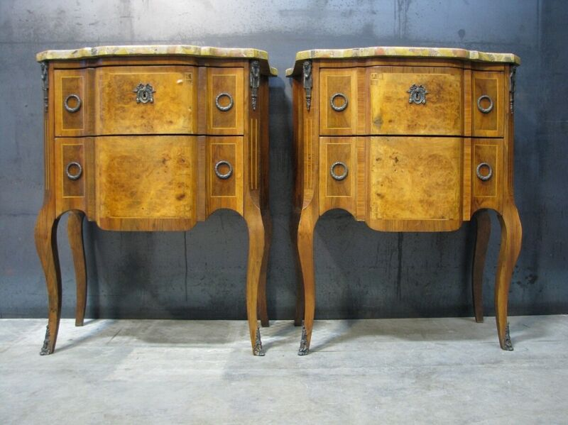 *PAIR* Early 20th Century French Stands With Inlay & Original Breche Marble Tops