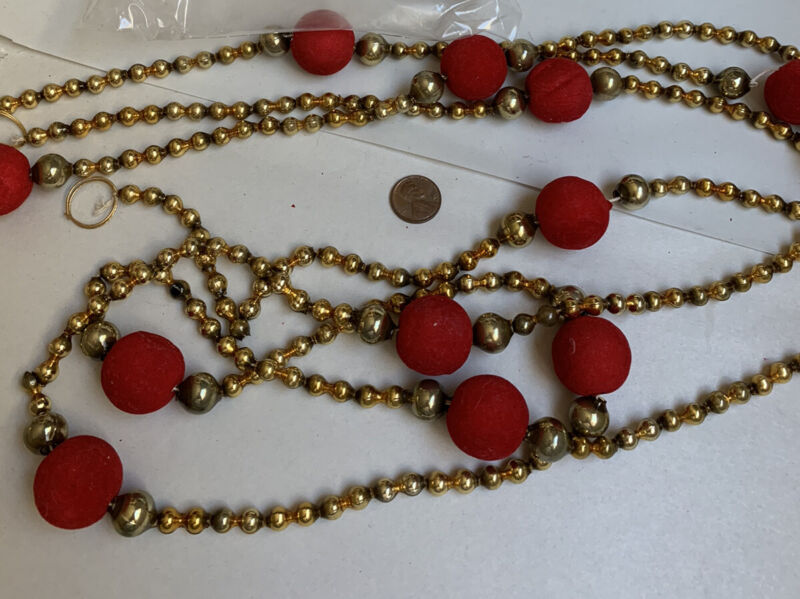 """Vintage Christmas Mercury Glass Gold w/ Red Balls Beads Garland 100"""" #H"""